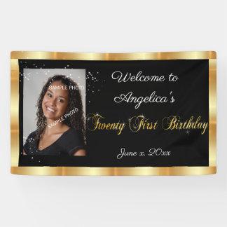 Zwanzig erster Geburtstag, GoldGlitzer, Schein Banner