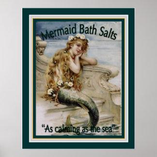 Zwanzigerjahre Anzeige für Meerjungfrau-Badesalz Poster