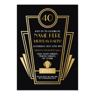 Zwanzigerjahre Kunst-Deko-Geburtstag laden Gatsby 12,7 X 17,8 Cm Einladungskarte