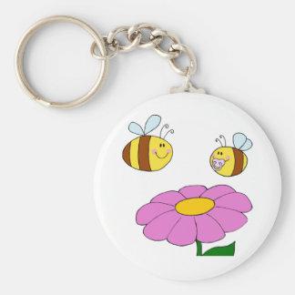 Zwei Bienen und eine Blume Keychain Schlüsselanhänger