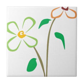 Zwei Blumen Kleine Quadratische Fliese