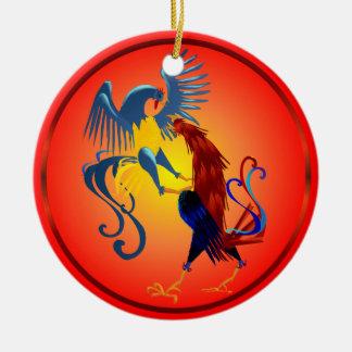 Zwei bunte kämpfende Hahn-Verzierung Rundes Keramik Ornament