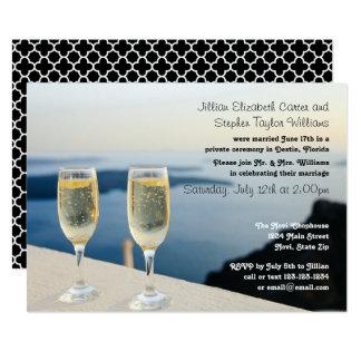Zwei Champagne-Glas-Foto - Hochzeits-Mitteilung Karte