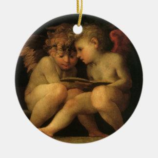 Zwei Engel, die durch Rosso Fiorentino, Engel Keramik Ornament
