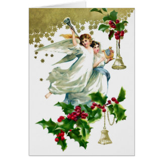 Zwei Engel mit Bell-Weihnachten Karte
