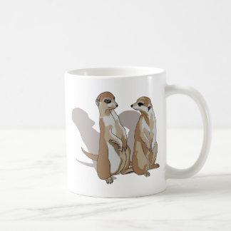zwei Erdmännchen mit Schatten Tasse