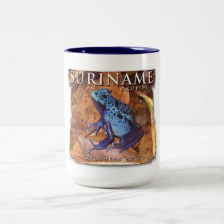 Zwei FarbTasse mit blauem Frosch Zweifarbige Tasse