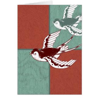 Zwei fliegende Spatzen-Vogel-rotes Blau-Farbblöcke Karte