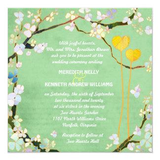 Zwei Herz-rustikale Pistazien-Grün-Hochzeit Quadratische 13,3 Cm Einladungskarte