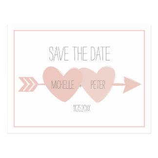Zwei Herz-Save the Date Postkarte (weiß)