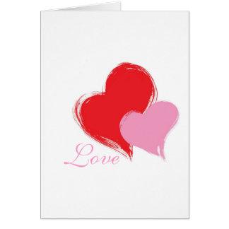 Zwei Herzen gelesen und rosa mit Liebe Karte