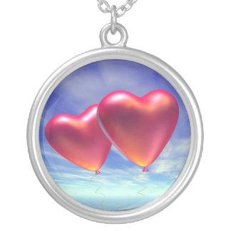 Zwei Herzen Halskette Mit Rundem Anhänger