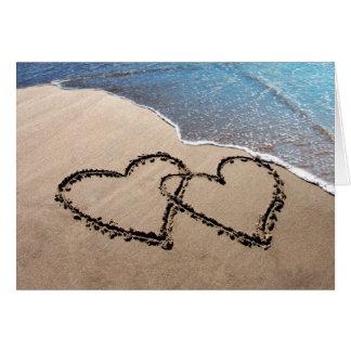 Zwei Herzen in der Sand-Gruß-Karte Karte