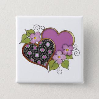 Zwei Herzen mit Blüten Quadratischer Button 5,1 Cm