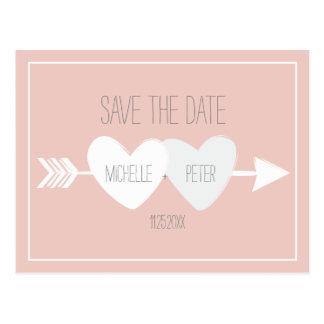 Zwei Herzen Save the Date Postkarte