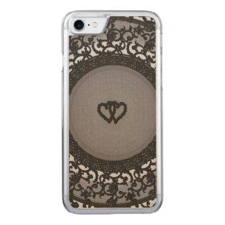 Zwei Herzen schwärzen Paillette-Blick Carved iPhone 8/7 Hülle