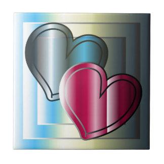 zwei Herzen zusammen und helles gefärbt Kleine Quadratische Fliese