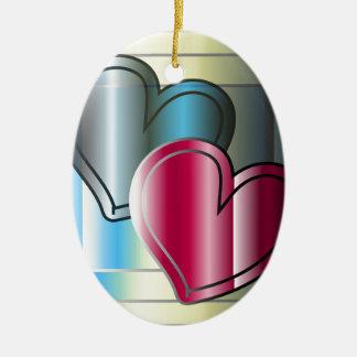 zwei Herzen zusammen und helles gefärbt Ovales Keramik Ornament