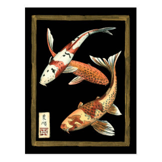 Zwei Japaner Koi Goldfisch auf schwarzem Postkarte