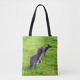 Zwei Kängurus drucken voll Einkaufstasche Tasche