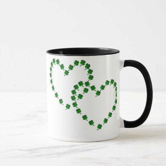 Zwei Klee-Herzen Tasse