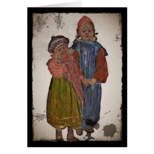 Zwei kleine Schwestern 1906 Grußkarte