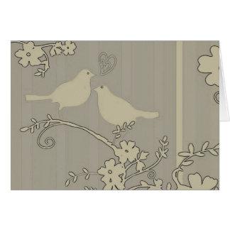 Zwei Liebe-Vögel ~ Entwurfs-französische Karte