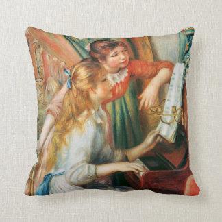 Zwei Mädchen am Klavier durch Renoir Kissen