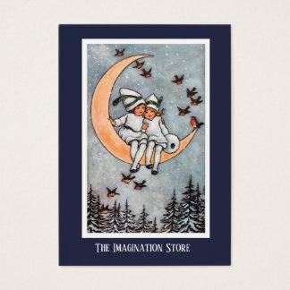 Zwei Mädchen auf der Mond-fantasiereichen Visitenkarte