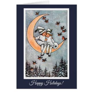 Zwei Mädchen auf der Mond-Vintagen Weihnachtskarte Karte