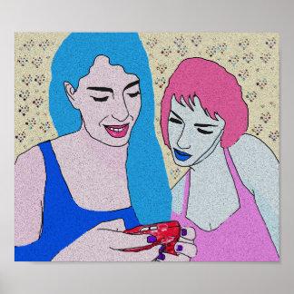 Zwei Mädchen und Telefon Poster