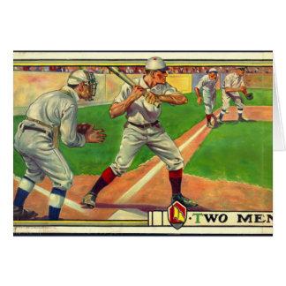 Zwei Männer werfen 1909 nieder Karte