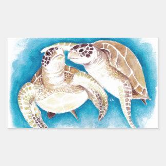 Zwei Meeresschildkröten Rechteckiger Aufkleber