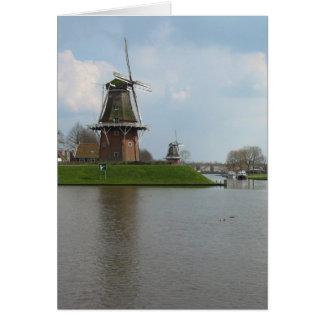 Zwei niederländische Windmühlen in Dokkum, Grußkarte