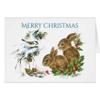 Zwei niedliche Häschen-frohe Weihnachten Karte