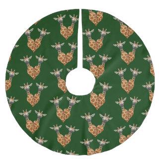 Zwei reizende Giraffen Polyester Weihnachtsbaumdecke