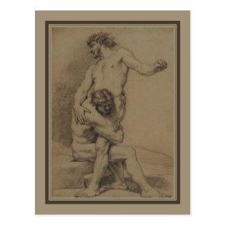 Zwei Ringkämpfer durch de Platte-Montagne Postkarte