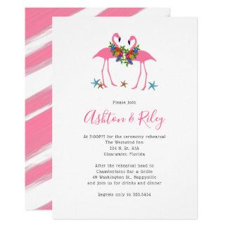 Zwei rosa Flamingo-Proben-Abendessen-Einladungen Karte