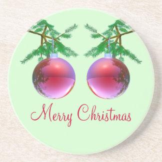 Zwei rote frohe Weihnacht-Bälle Sandstein Untersetzer
