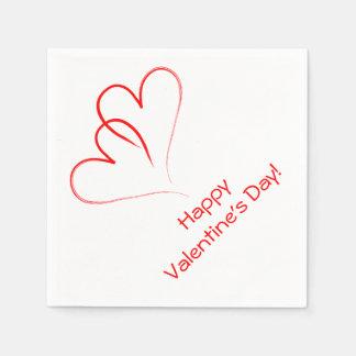 Zwei rote Herzen - glücklicher Valentinstag! Papierserviette