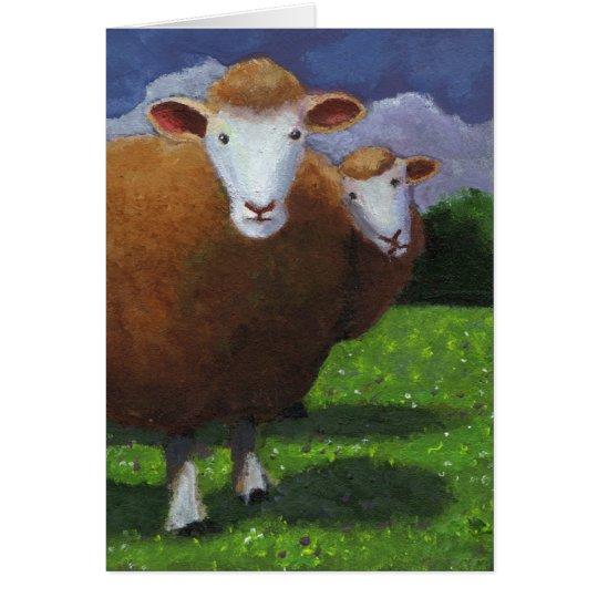 Zwei Schafe: Acrylmalerei: Jahrestag Grußkarte