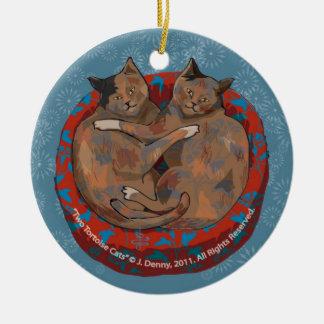Zwei Schildpatt-Katzen… Rundes Keramik Ornament