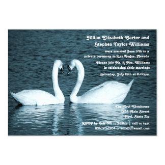 Zwei Schwan-Foto - Hochzeits-Mitteilung Karte