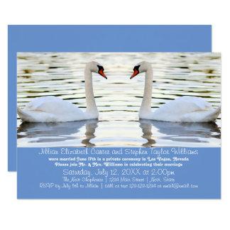 Zwei Schwan-Foto - Mitteilung der Hochzeits-3x5 Karte