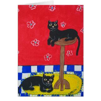 Zwei schwarze Katzen Karte