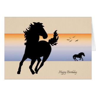 Zwei Silhouette-Pferde, die Geburtstags-Karte Grußkarte