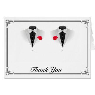 Zwei Smoking auf weißer homosexueller Hochzeit Mitteilungskarte