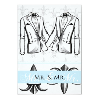 Zwei Smokings-Bräutigam-homosexuelle 12,7 X 17,8 Cm Einladungskarte
