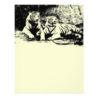 Zwei Tiger in Schwarzweiss 21,6 X 27,9 Cm Flyer