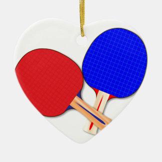 Zwei Tischtennis-Schläger Keramik Herz-Ornament